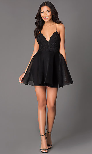 Short V Neck Scalloped Lace Fit And Flare Dress