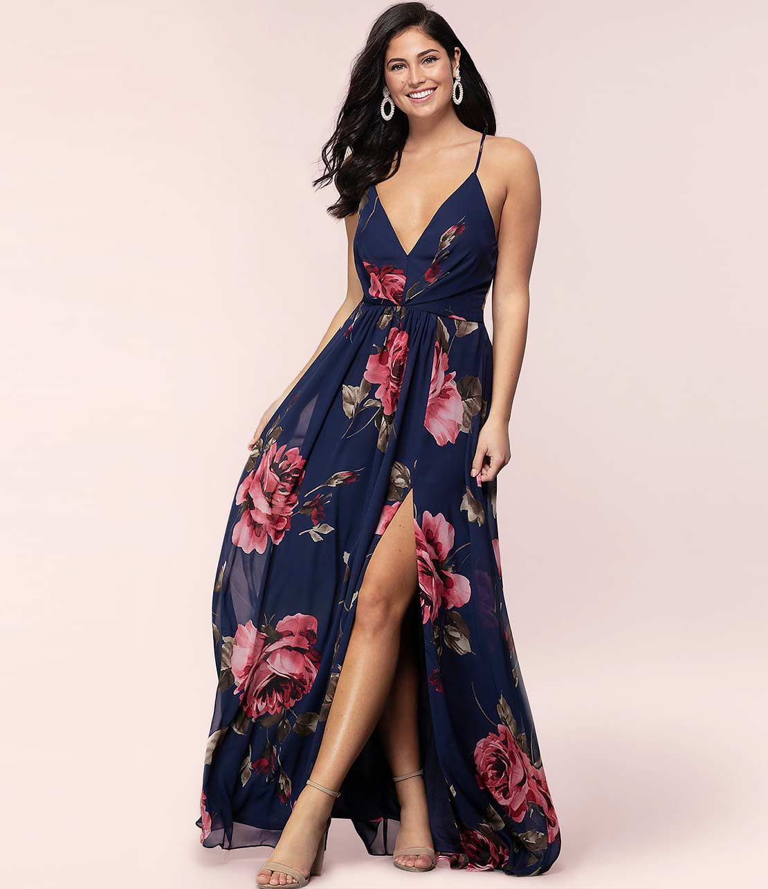 Navy Long Floral Dress