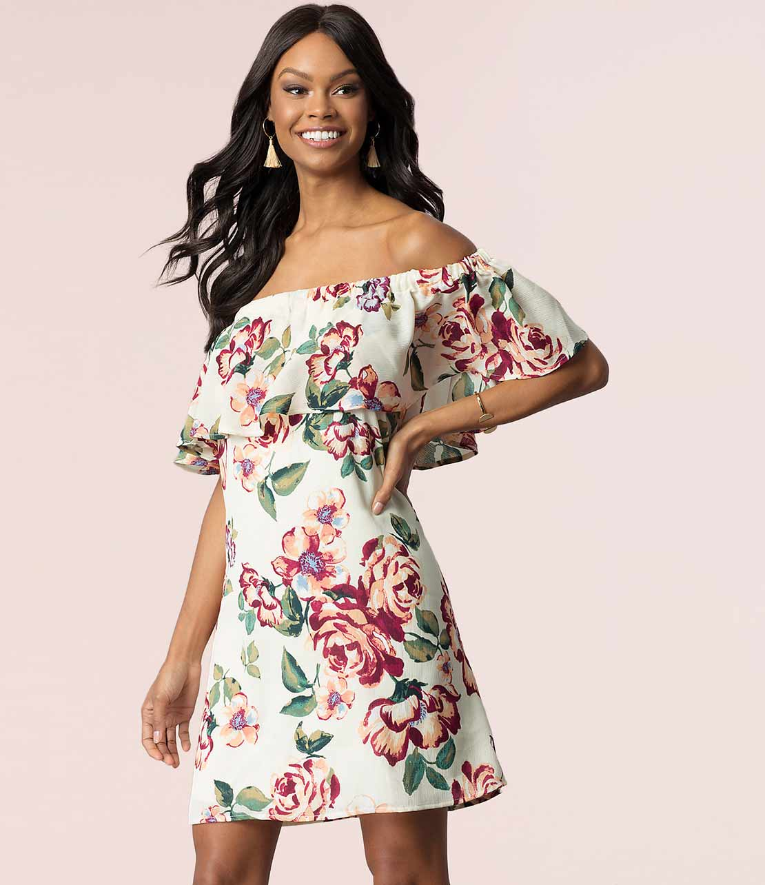 Short Shift Off-The-Shoulder Floral Dress