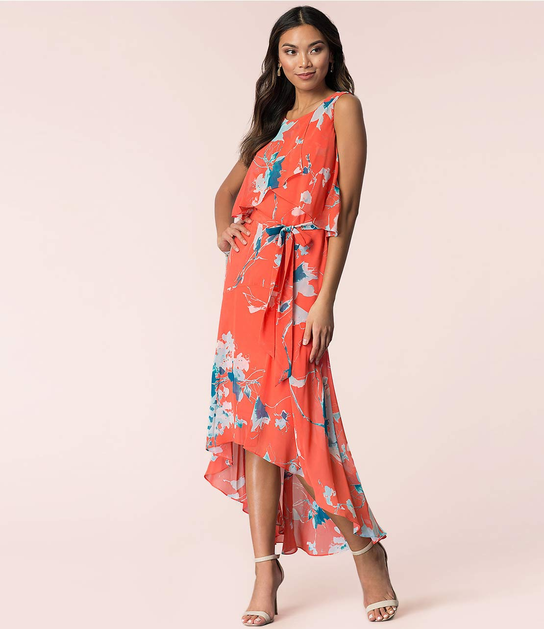 Casual High-Low Hemline Floral Print Dress in Coral