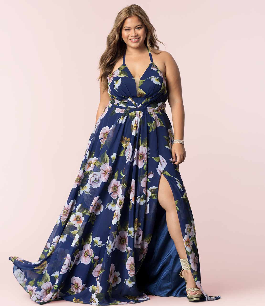 Navy Plus-Size Floral Maxi Dress