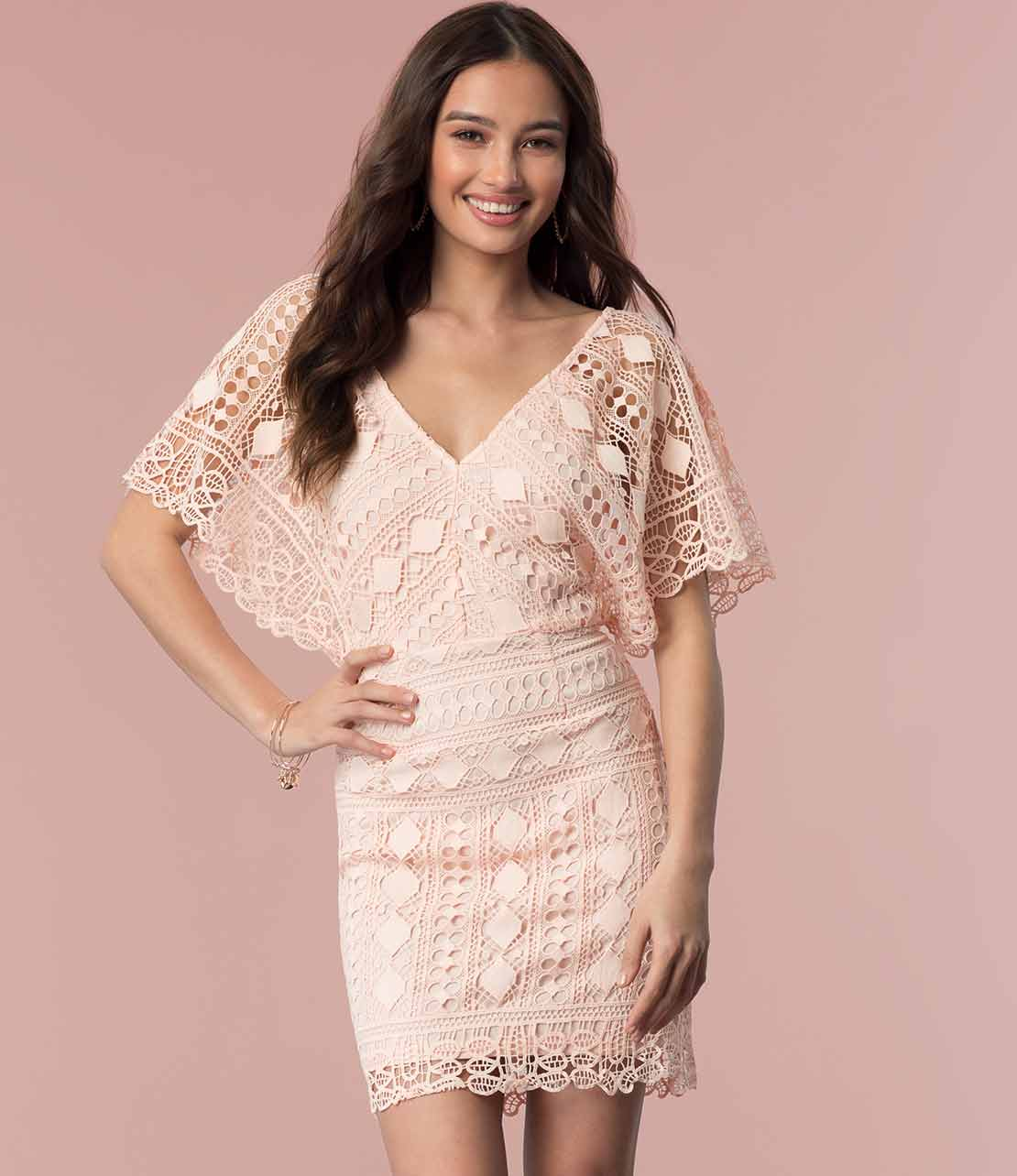 Short Lace Dress in Blush
