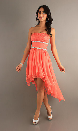 Strapless High-Low Prom Dress