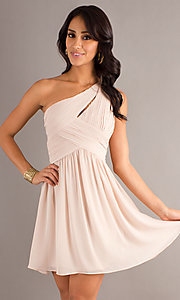 Image of one-shoulder short semi-formal dress Style: MT-MD-6058 Front Image
