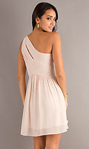 Image of one-shoulder short semi-formal dress Style: MT-MD-6058 Back Image