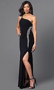 Image of long one-shoulder jeweled formal dress. Style: DQ-8309 Detail Image 1