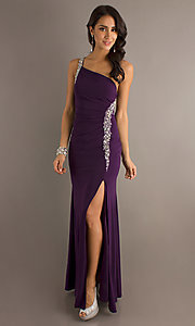Image of long one-shoulder jeweled formal dress. Style: DQ-8309 Front Image