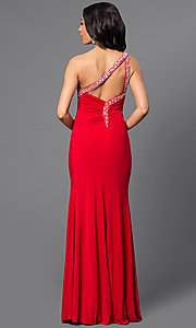 Image of long one-shoulder jeweled formal dress. Style: DQ-8309 Back Image