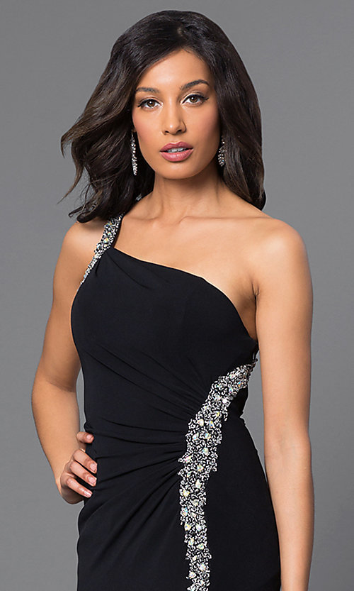 Image of long one-shoulder jeweled formal dress. Style: DQ-8309 Detail Image 2