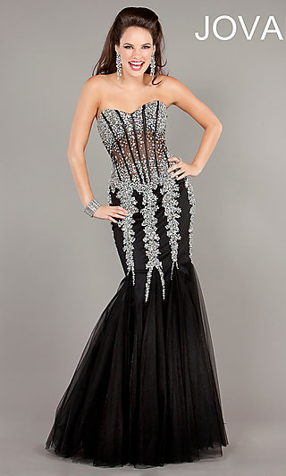 Long Beaded Corset Prom Dresses by Jovani
