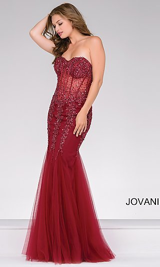 Jovani Beaded-Illusion Prom Dress with Corset Bodice