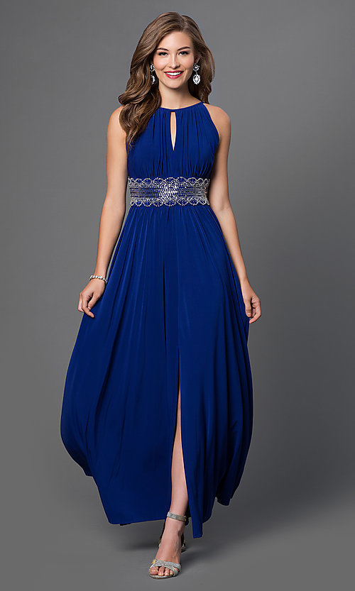 Long Sleeveless Beaded Dress High Neck Prom Gown Simply