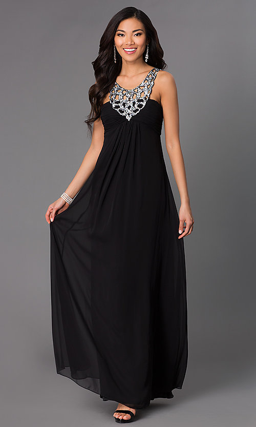 Image of long sleeveless dress with sequin neckline. Style: NA-2592 Front Image