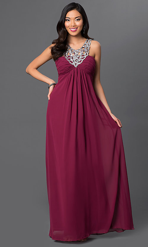 Image of long sleeveless dress with sequin neckline. Style: NA-2592 Detail Image 1