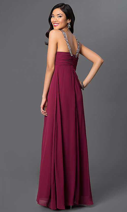 Image of long sleeveless dress with sequin neckline. Style: NA-2592 Back Image