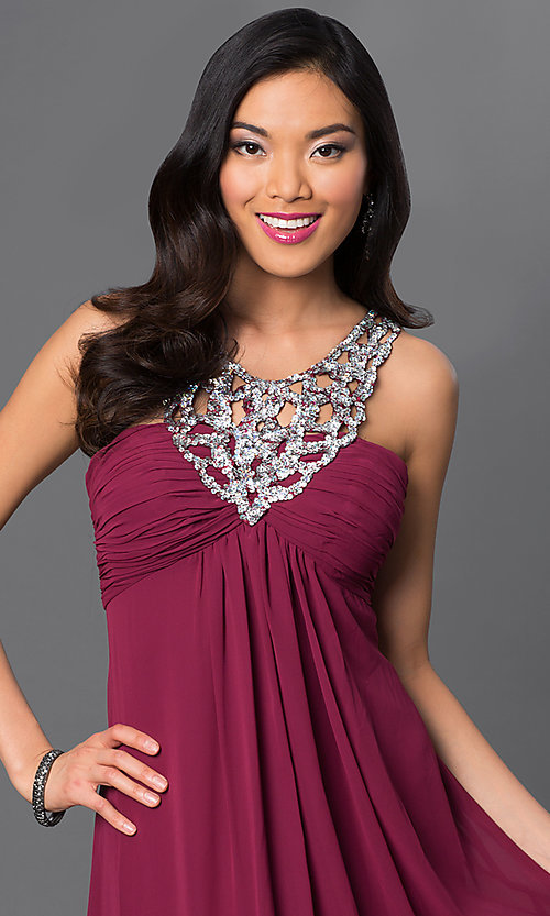 Image of long sleeveless dress with sequin neckline. Style: NA-2592 Detail Image 2