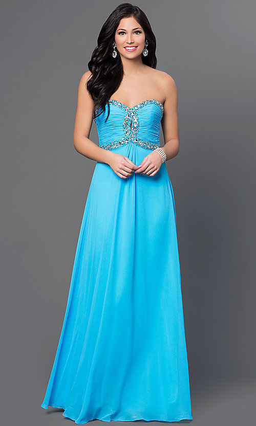 Image of Strapless Empire Waist Chiffon Gown FA-7366 Style: FA-7366 Front Image
