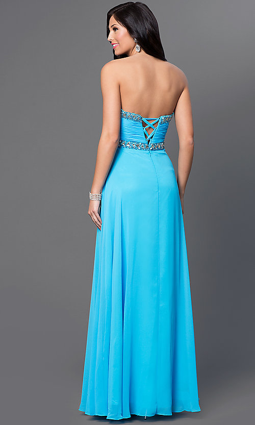 Image of Strapless Empire Waist Chiffon Gown FA-7366 Style: FA-7366 Back Image
