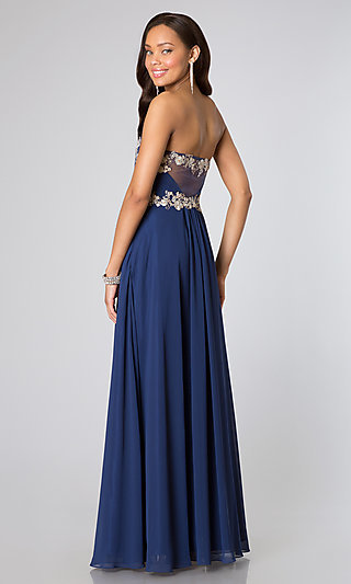 Low Cut Strapless Prom Gown by Faviana - SimplyDresses