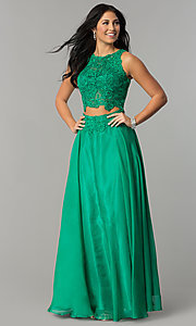 Image of Two Piece Long Lace Prom Dress by Dave and Johnny 0770 Style: DJ-10001 Detail Image 2