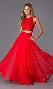 Image of Two Piece Long Lace Prom Dress by Dave and Johnny 0770 Style: DJ-10001 Front Image