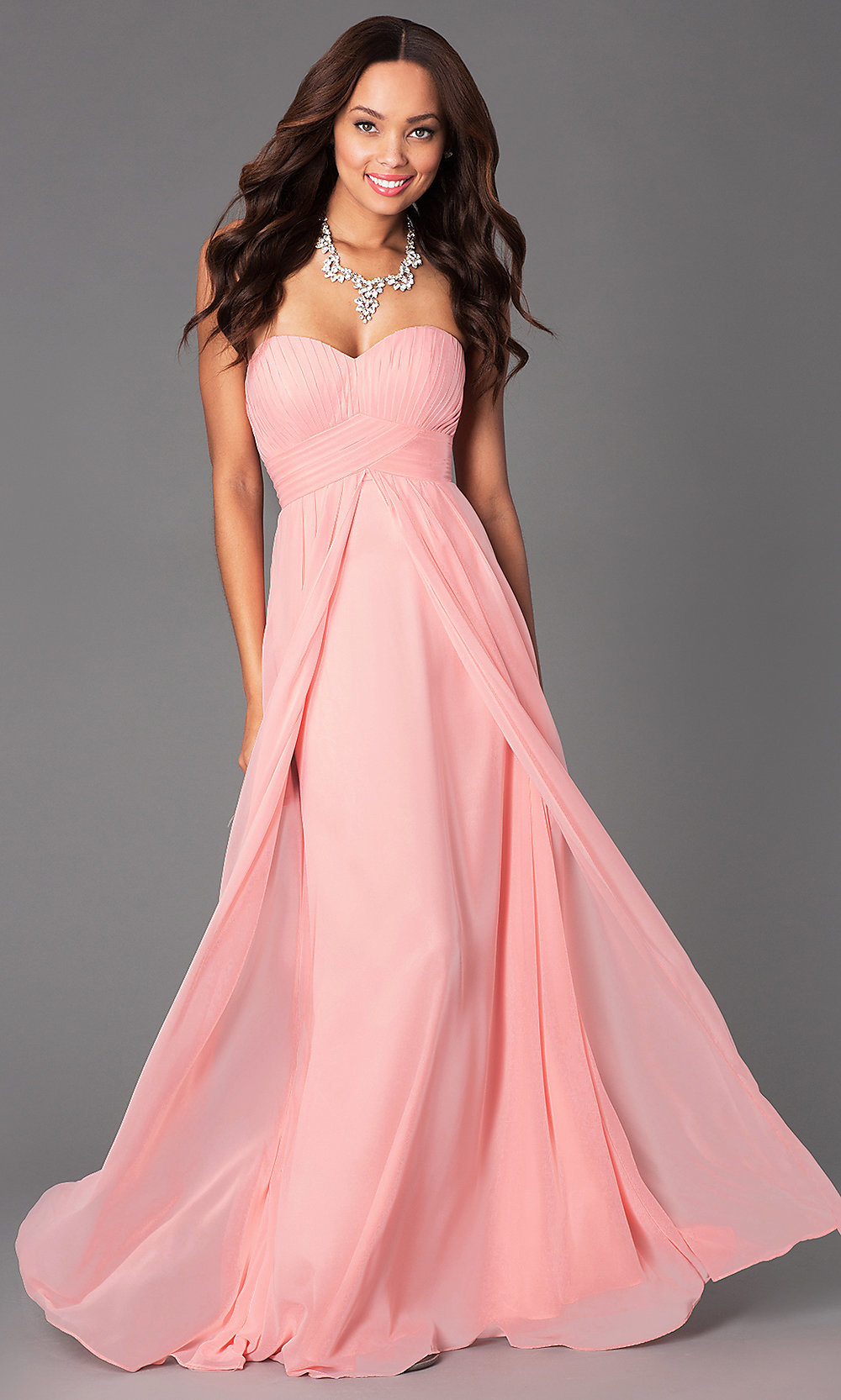 Pastel Pleated Sweetheart Long Chiffon Prom Gown