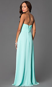 Image of Long Strapless Pleated Sweetheart Prom Dress Style: DQ-8658 Back Image