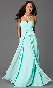 Image of Long Strapless Pleated Sweetheart Prom Dress Style: DQ-8658 Detail Image 1