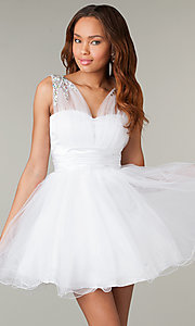 Image of corset-back short sleeveless babydoll party dress. Style: DQ-8590 Detail Image 1