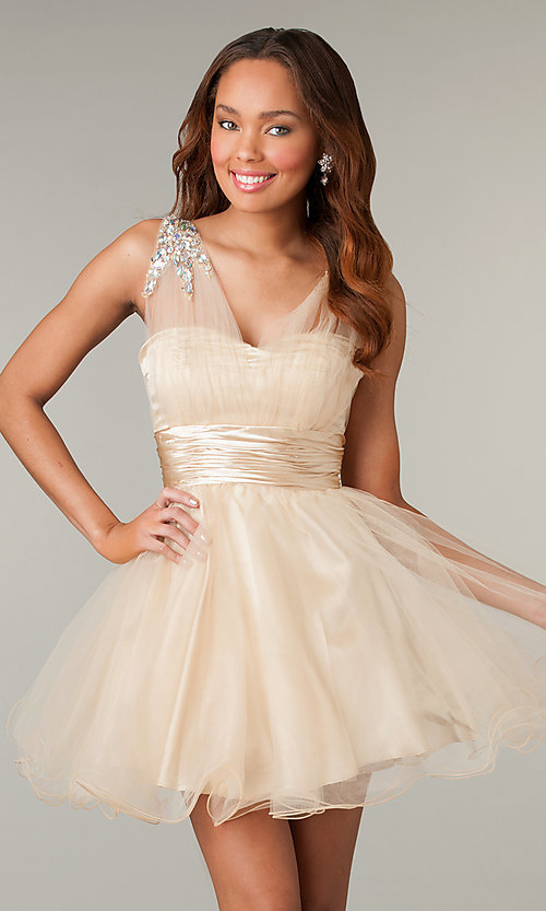 Image of corset-back short sleeveless babydoll party dress. Style: DQ-8590 Front Image