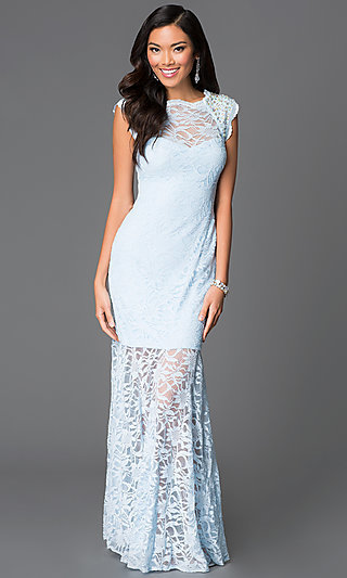 Cap-Sleeve High-Neck Lace Dress by Morgan