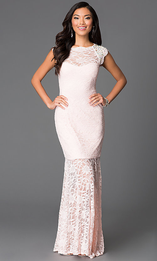 Image of cap-sleeve high-neck lace dress by Morgan Style: MO-11809 Back Image