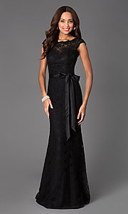 Image of Black Lace Evening Gown by Mori Lee ML-97136 Style: ML-696 Front Image