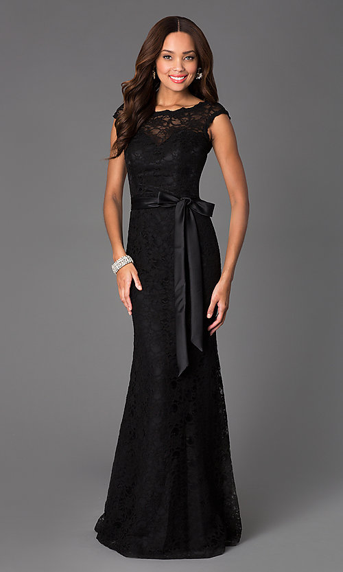 Black Lace Evening Gown by Mori Lee ML-97136