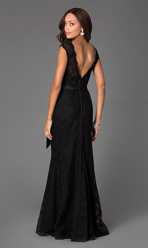 Image of Black Lace Evening Gown by Mori Lee ML-97136 Style: ML-696 Back Image