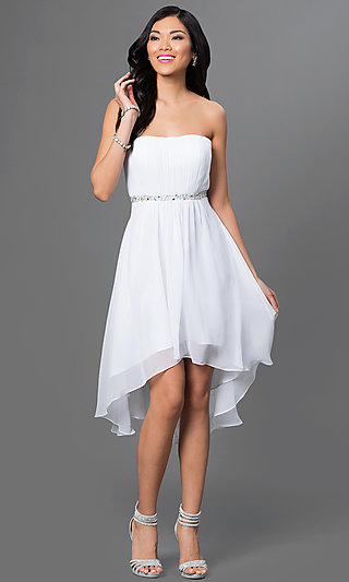 High low short white party dress with matching shawl for Short white wedding dresses under 100