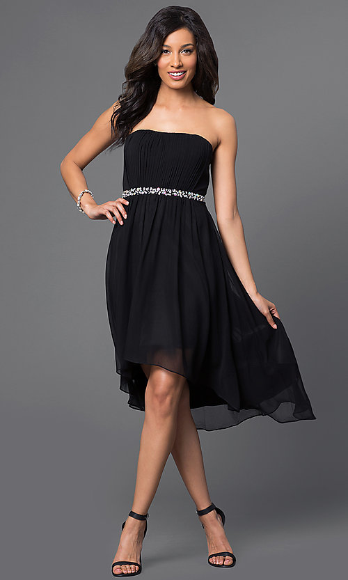 Image of High Low Strapless Beaded Party Dress Style: DQ-8626 Detail Image 1