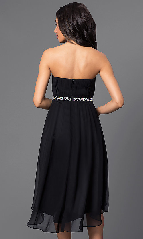 Image of High Low Strapless Beaded Party Dress Style: DQ-8626 Back Image