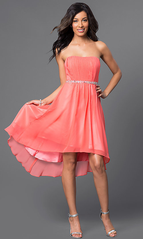Image of High Low Strapless Beaded Party Dress Style: DQ-8626 Detail Image 2