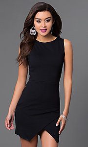 Image of sleeveless short mock wrap-skirt dress Style: CH-2348 Detail Image 2