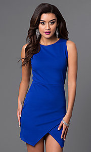 Image of sleeveless short mock wrap-skirt dress Style: CH-2348 Detail Image 3