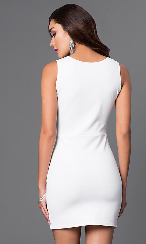 Image of sleeveless short mock wrap-skirt dress Style: CH-2348 Back Image