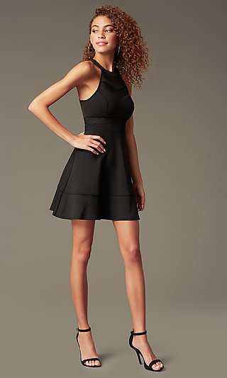 Sleeveless Little Black Emerald Sundae Party Dress