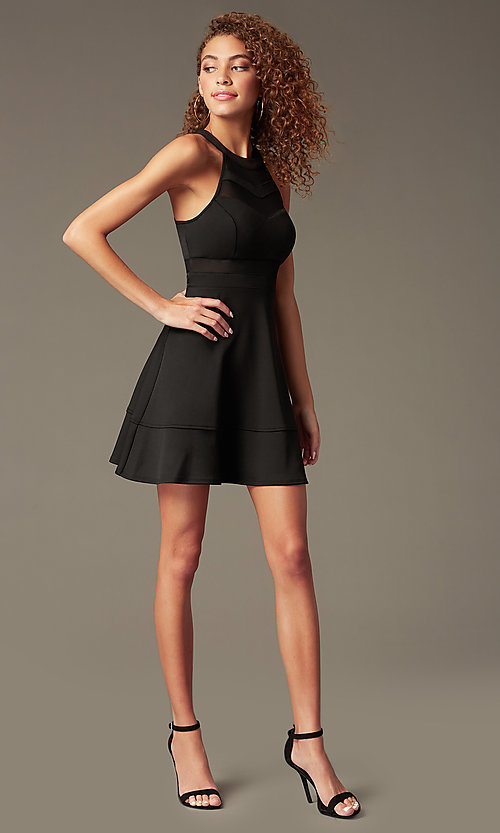 Image of Little Black Sleeveless Party Dress Style: EM-DHX-1003-001 Detail Image 1
