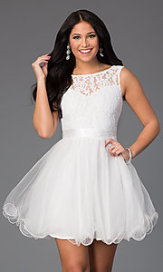 Image of Short Sleeveless A-Line Dress DQ-8741 Style: DQ-8741 Front Image