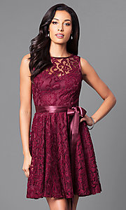 Image of sleeveless lace dress by Sally Fashion Style: SF-8760 Front Image