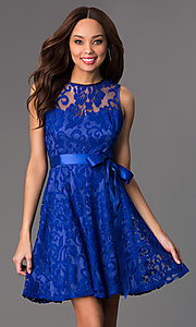 Image of sleeveless lace dress by Sally Fashion Style: SF-8760 Detail Image 1