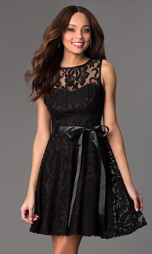 Image of sleeveless lace dress by Sally Fashion Style: SF-8760 Detail Image 2