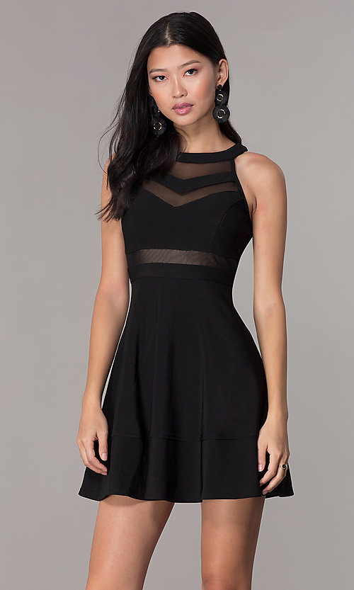 Image of little black high-neck a-line cocktail party dress. Style: EM-DHX-1027 Front Image