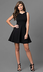 Image of short sleeveless little-black dress. Style: CH-2420 Detail Image 1